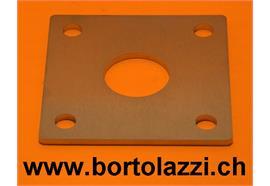"""Fussplatten CNS geschliffen 100 x 100 x 5mm mit 1 1/4"""" Pfostenloch"""