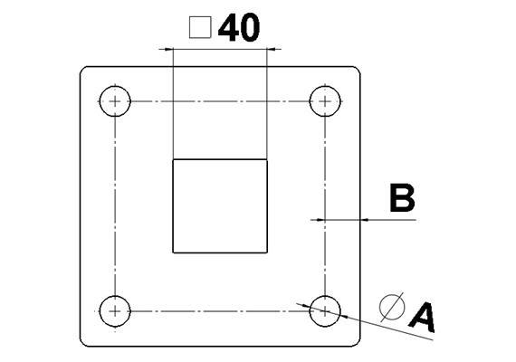 Fussplatten CNS geschliffen 80 x 80 x 5mm mit 40x40mm Pfostenloch