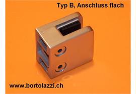 Glashalter / Glasklemme Typ B, Anschl. flach, Glasdicke 10mm