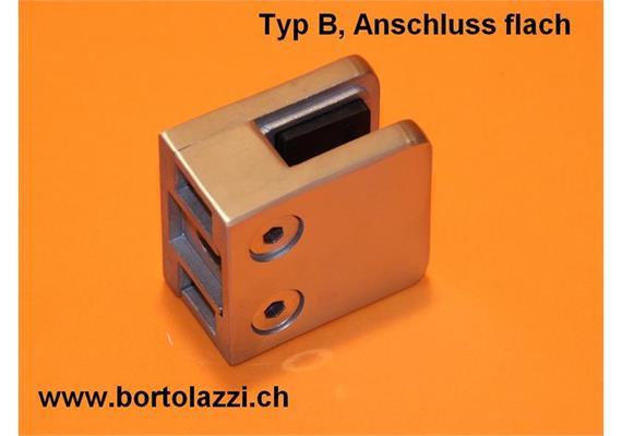 Glashalter / Glasklemme Typ B, Anschl. flach, Glasdicke 8.76mm