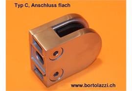 Glashalter Typ C, Anschl. flach, Glasdicke 10.0mm