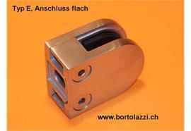 Glashalter Typ C, Anschl. flach, Glasdicke 12.0mm