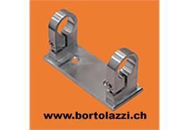 Pfostenh. rechteckig höhenverstellbar, für Rohr-d=42.4mm